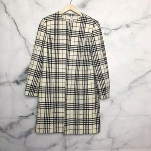 Talbots 100% wool plaid long dress coat Size 8